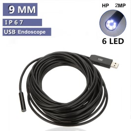 2MP Waterproof 9mm USB Inspection Camera Borescope Endoscope Snake Scope 6LEDs 10M Cable