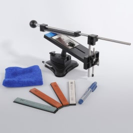 KKmoon Upgraded Version Fixed-angle Knife Sharpener Professional Kitchen Knife Sharpener Kits System 4 Sharpening Stones
