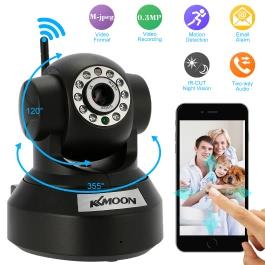 KKmoon® 0.3MP Camera PnP P2P Pan Tilt IR WiFi Wireless Network IP Webcam