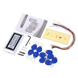 Metal Waterproof Access Control ID Card Reader Keypad for Door Security DC7-30V Wiegand 26 Interface 125KHz with 10pcs Key Fob