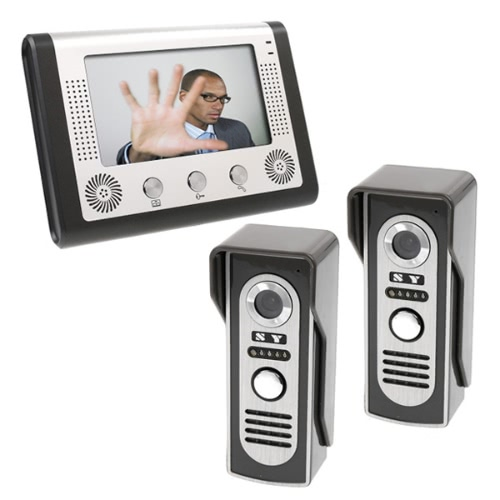 KKmoon 7 Inch LCD Home Security Video Door Phone Intercom Kit 2 Cameras 1 Monitor