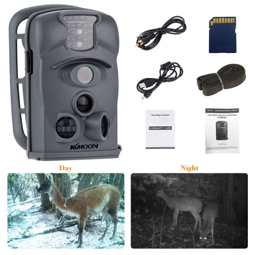 KKmoon 12MP 720P 120° Wide Angle HD 850nm 24pcs IR Waterproof Game Camera Security Scouting Hunting Trail Camera with 8G SD Card